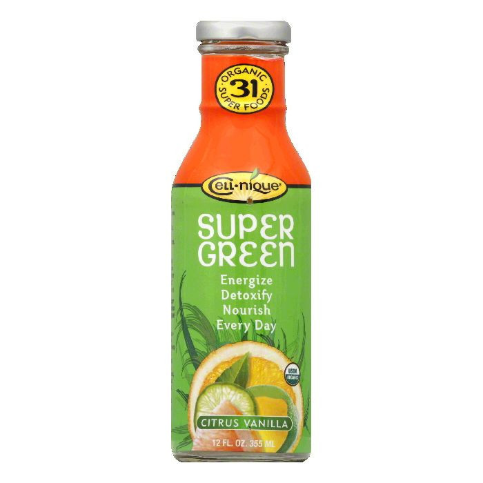 Cell nique Citrus Vanilla Organic Super Green Drink, 12 FO (Pack of 12)