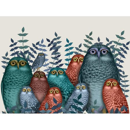 Electric Owls, Blue and Orange Whimsical Bird Family Animal Art Print Wall Art By Fab