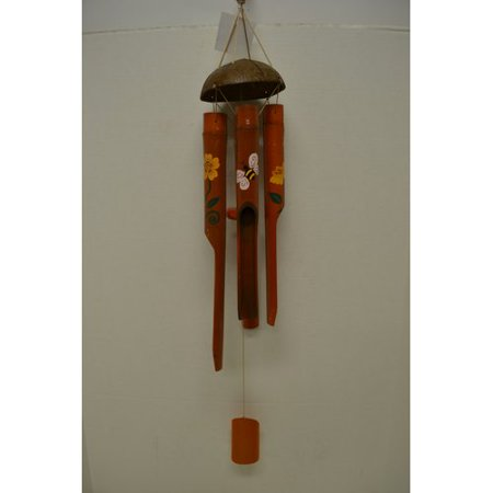Great World Company Bee Coconut Top Bamboo Painted Tube Wind Chime