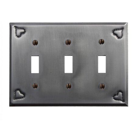Switchplate Gray Tin Heart Triple Toggle