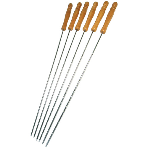 "Onward Grill Pro 40538 6 Piece 22"" Chrome Deluxe Skewers"