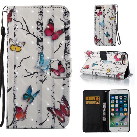 iPhone 7 Plus Case Wallet, iPhone 8 Plus Case, Allytech PU Leather Protective Cover & Credit Card Slots Pocket, Kickstand Slim Case for Apple iPhone 7 Plus 8 Plus (Colorful Butterfly)
