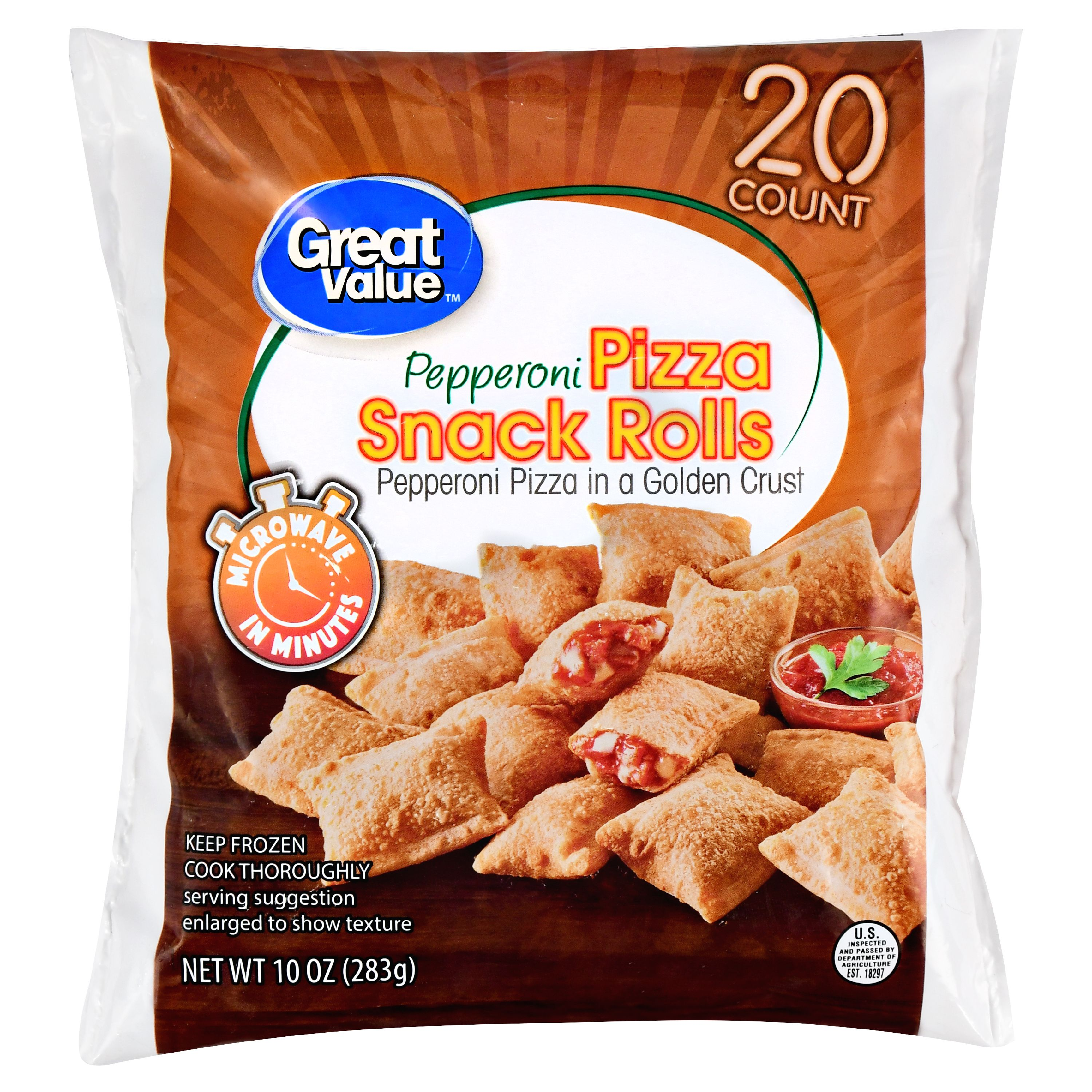 Great Value Frozen Pizza Snack Rolls, Pepperoni, 10 oz, 20 Count