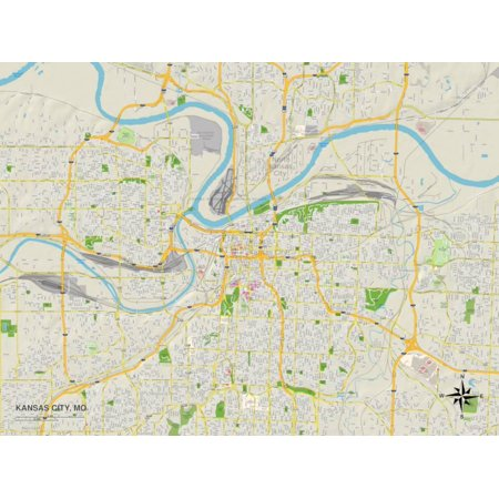 Political Map of Kansas City, MO Print Wall Art - Walmart.com