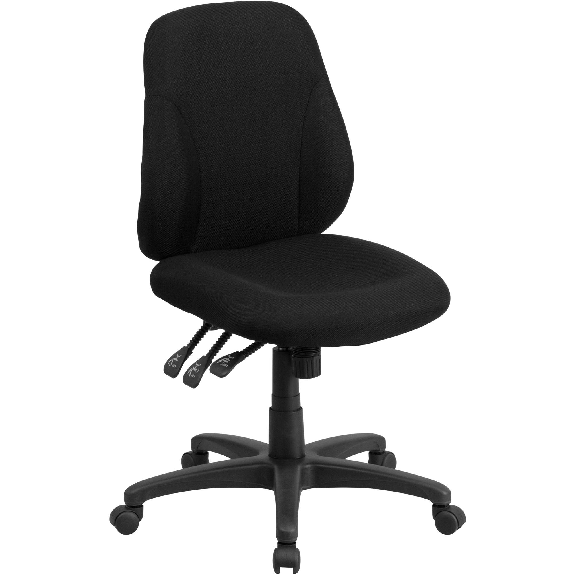 Flash Furniture Mid-Back Black Fabric Multi-Functional Ergonomic Swivel Task Chair