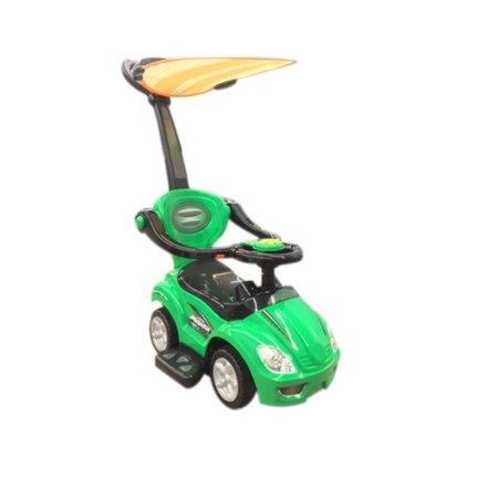 ride on car kids stroller push car 3 in 1 with sun shade canopy green