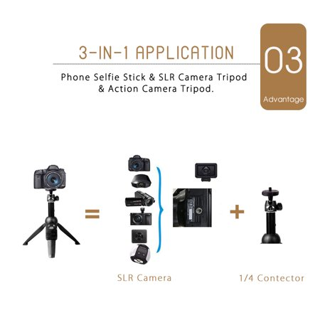 3-in-1 Handheld Selfie Stick Tripod Holder Extendable bluetooth Remote For Phone - image 6 of 12