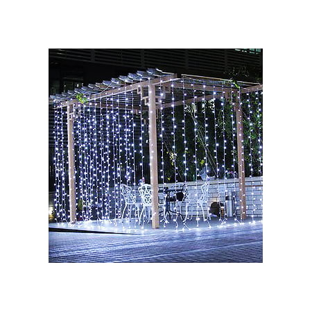 Image Curtain Light String 224 LED Christmas Festival Curtain String Fairy Wedding Led Lights Pure White