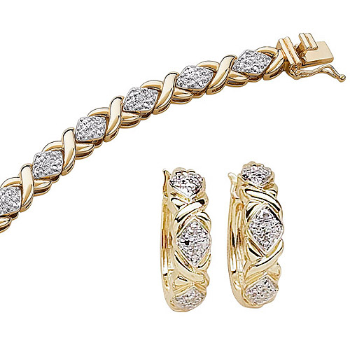 "1/4 Carat T.W. Diamond 14kt Gold-Plated Tennis Bracelet, 7.25"", with Diamond-Accent Hoop Earrings"