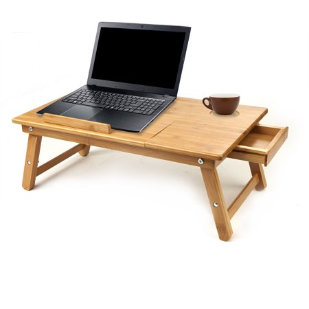 Mind Reader Laptop Lap Desk Flip Top with Drawer, Fold-able Legs, Breakfast Tray, Bamboo Brown