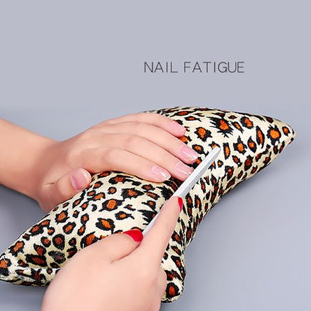 Nail Hand Arm Wrist Holder Cushion Bone Shape Leopard Printed Manicure Hand Rest Pillow Salon Beauty Tool Random Color - image 6 of 9