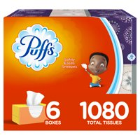 Puffs, Everyday Non-lotion Facial Tissues, 6 Family Boxes, 180 Tissues per Box