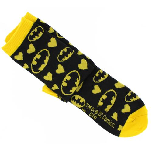 Batman Black & Yellow Hearts Junior Crew Socks