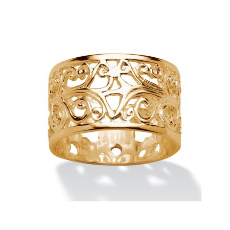 Vintage-Style Filigree Scroll Design Ring Band in 18k Gold over Sterling Silver