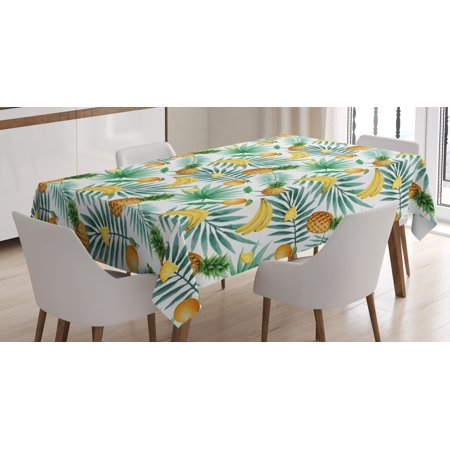 Watercolor Tablecloth, Exotic Fruits Pattern Pineapples Bananas Oranges Tropical Leaves, Rectangular Table Cover for Dining Room Kitchen, 60 X 84 Inches, Green Yellow Pale Brown, by Ambesonne](Tropical Tablecloth)