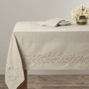 Saro Embroidered Scroll Design Tablecloth