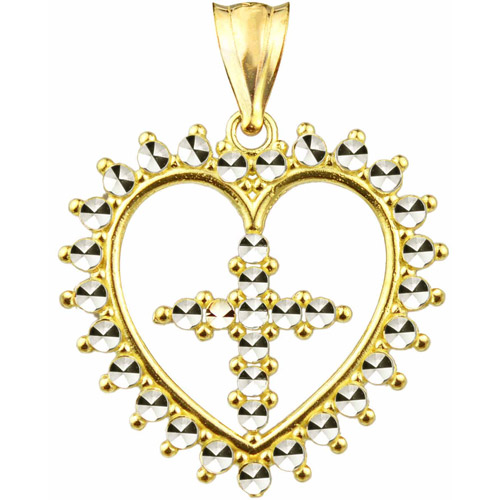 Handcrafted 10kt Gold Diamond-Cut Heart With Cross Charm Pendant