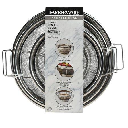 Farberware Three Piece Stainless Steel Mesh Sieve Set