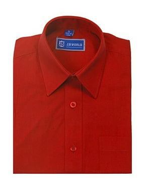 jb world boys red short sleeve button front uniform dress shirt