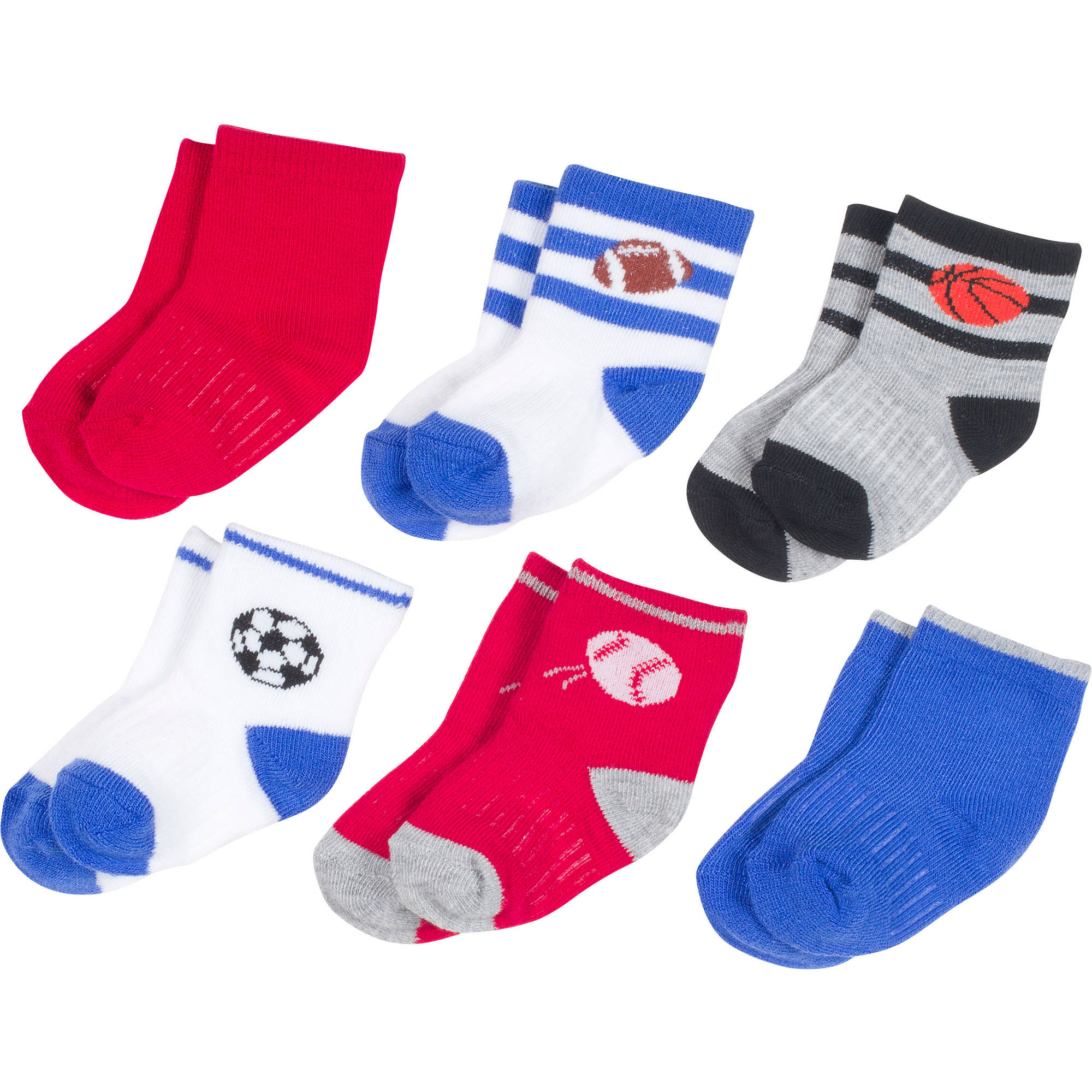 Growing Socks by Peds, Boy Infant, Sports Balls, 6 Pairs