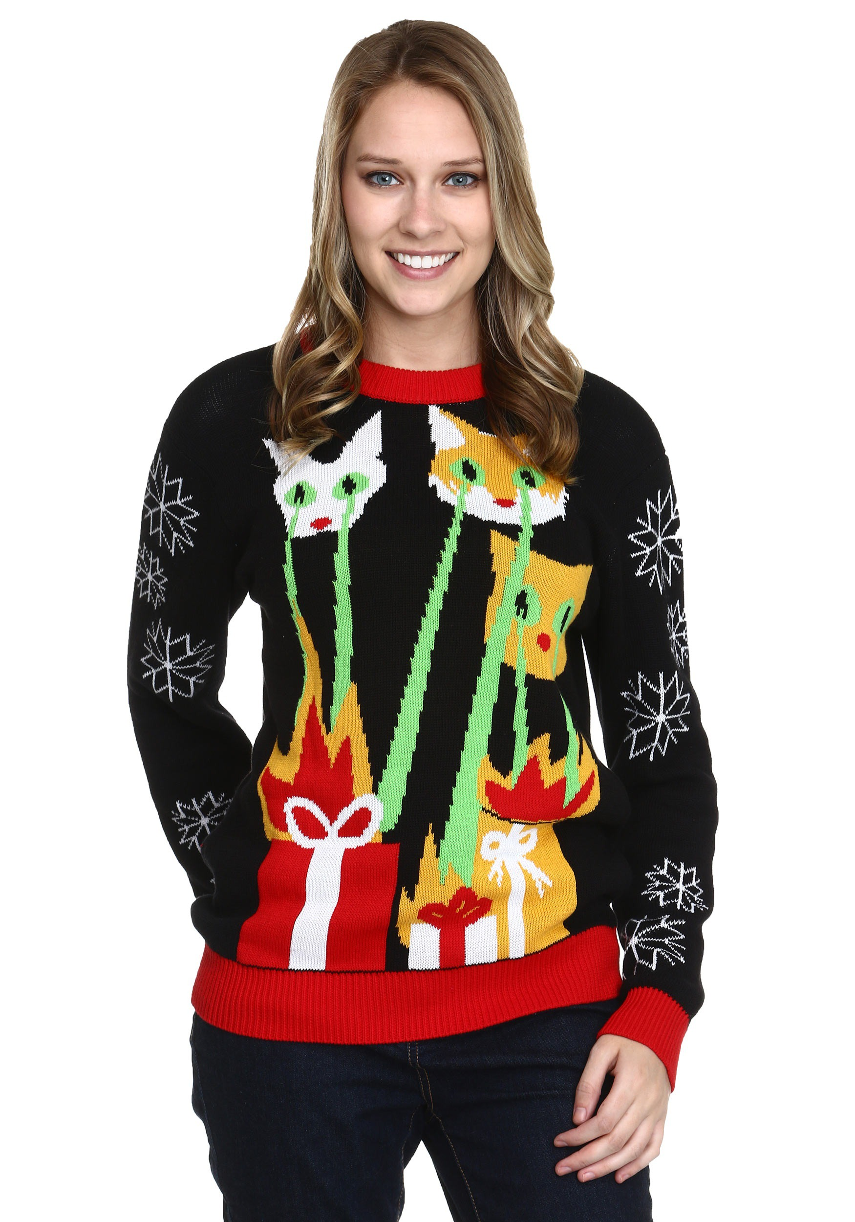 Band Ugly Christmas Sweaters.Laser Cat Zillas Ugly Christmas Sweater
