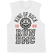 Run DMC Men's  King Of Rock Varsity Mens Tank White
