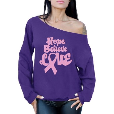 Awkward Styles Women's Hope Believe Love Graphic Off Shoulder Tops Oversized Sweatshirt Pink Ribbon Breast Cancer