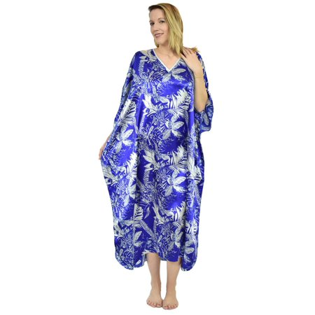 - Up2date Fashion's Women's Caftan / Kaftan / Muumuu / Mumu, Tropical Sapphire Print
