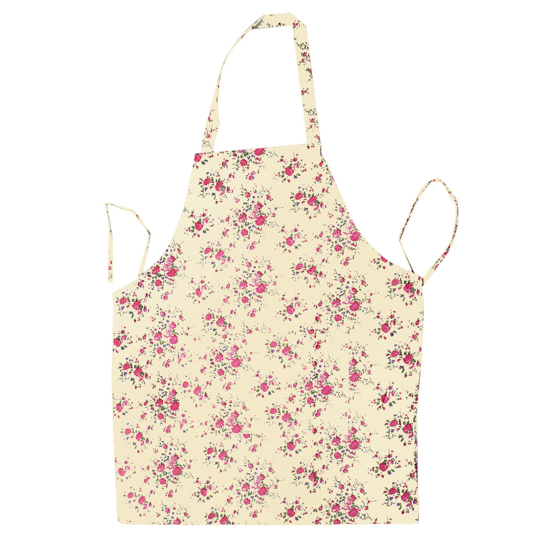 Kitchen Cooking Beige Floral Flower Printed Double Patch Pockets Bib Apron