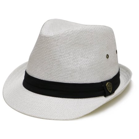 Pamoa Pms500 Solid Paper Toyo Straw Fedora Hat 4 Colors (S/M, White) Toyo Fedora Hat