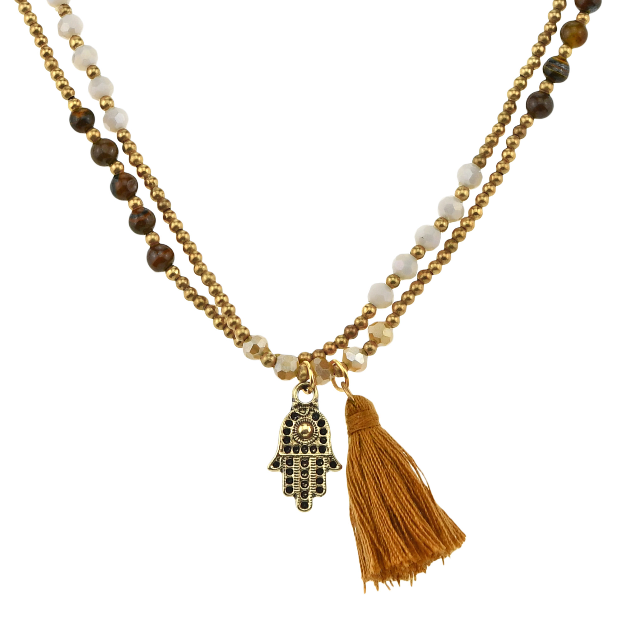 Long Necklace with Tigereye and brass beads
