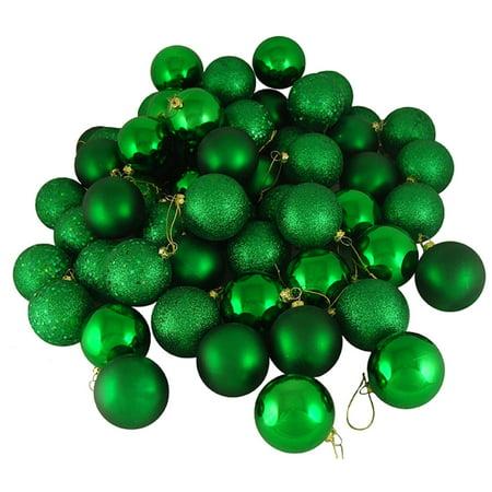 24ct Xmas Green Shatterproof 4-Finish Christmas Ball Ornaments 2.5