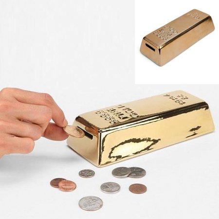 Gold Money Bank Coin Box Piggy Ceramic New Saavy Safe Dollar Coins Gift Adults ! ()