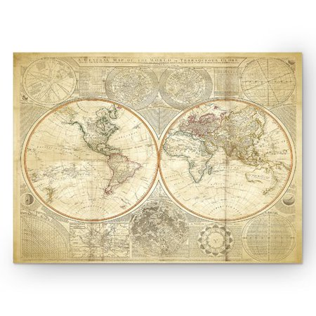 Beige Art - Wexford Home 'Vintage World Map II' Graphic Art Print on Wrapped Canvas in Beige