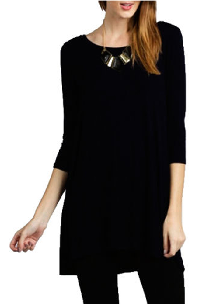 Women Boat Neck 3/4 Sleeve Long Knit Jersey Solid Tunic Dress Top