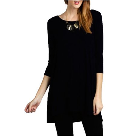 Women Boat Neck 3/4 Sleeve Long Knit Jersey Solid Tunic Dress Top - Pink Floyd Halloween Costume
