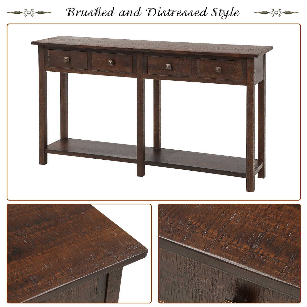 59 X 15 X 33 Tall Console Table With 4 Storage Drawers Wood Buffet Cabinet Sideboard Desk With Bottom Shelf Retro Tall Console Table Accent Table For Entryway 99lbs Espresso S9866