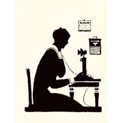 Homemaker Makes a Phone Call Poster Print by Maxfield Parrish