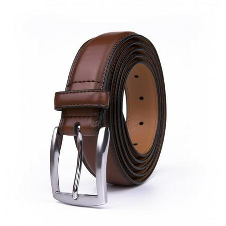 Belts For Men, Premium Genuine Leather Fashionable Classic Dress Belt - Brown
