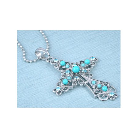 Turquoise Bead Aqua Blue Crystal Rhinestone Blessed Love Cross Pendant Necklace ()