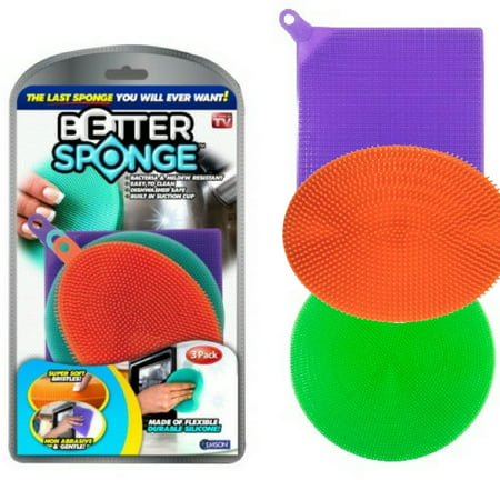 As Seen on TV Better Sponge, 3 Multi-colored Textured Silicone Sponges