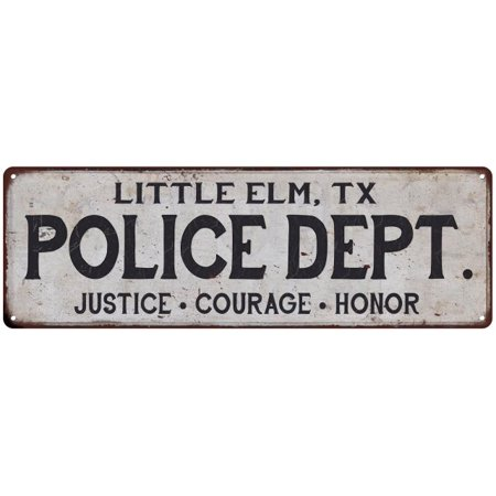 Little Elm  Tx Police Dept  Vintage Look Metal Sign Chic Decor Retro 6183711