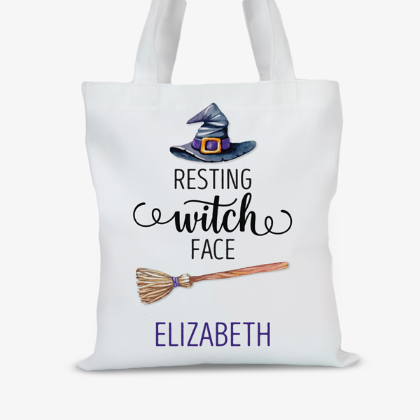 Resting Witch Face Custom Large Halloween Trick or Treat Tote Bag