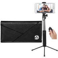 BUNDLE: Professional Vegan Leather Horizontal Smartphone Holster Case (Black) & Selfie Stick Mini Tripod 2.0 - fits Smartphones up to 6.7-inch iPhone XS Max / XR Galaxy Note 9 / S10 5G / S10+ / S10
