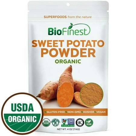 Biofinest Sweet Potato Powder -100% Pure Antioxidants Superfood - USDA Certified Organic Kosher Vegan Raw Non-GMO - Boost Digestion Weight Loss Detox - For Smoothie Beverage (4 oz Resealable -