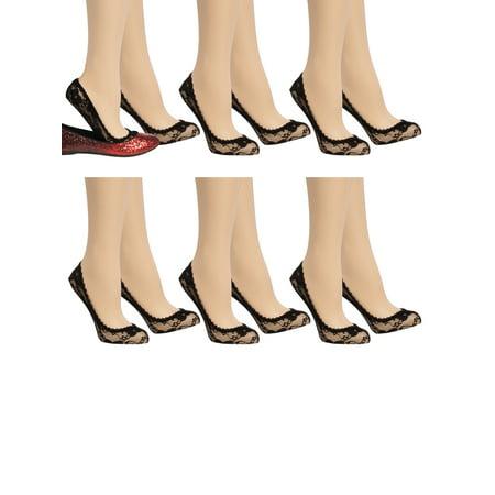 Appleseed's (6 Pack) Cute Liner Socks Floral Lace No Show Footie Socks Ladies Low Cut Womens Socks (Lace Liner)
