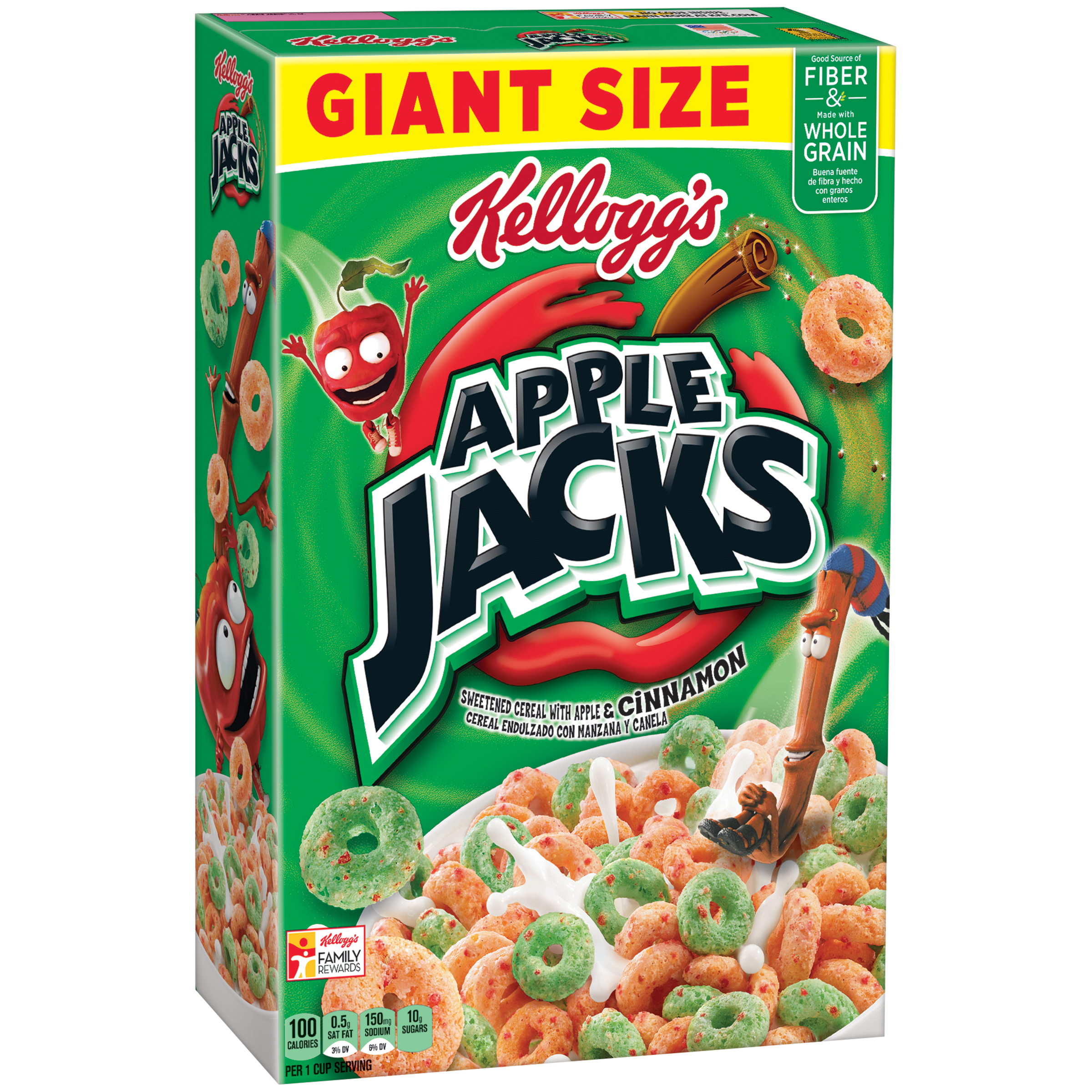 Kellogg's Apple Jacks Breakfast Cereal, Apple & Cinnamon 26 Oz