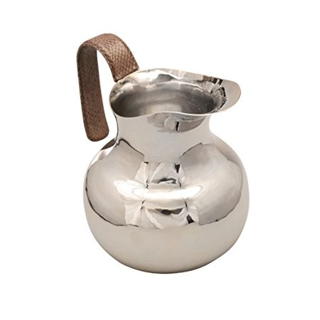 GAC Classic Silver Milk Pitcher with Wide Spout, Bell Pitcher with Genuine Leather Handle Perfect Serving Pitcher for Milk, Coffee, Cappuccino, and Cream 60oz