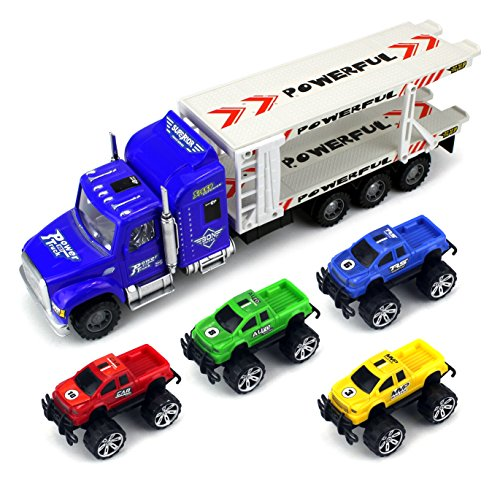 Monster Transport Trailer Children's Friction Toy Semi Truck Ready To Run 1:32 Scale w  4... by Velocity Toys
