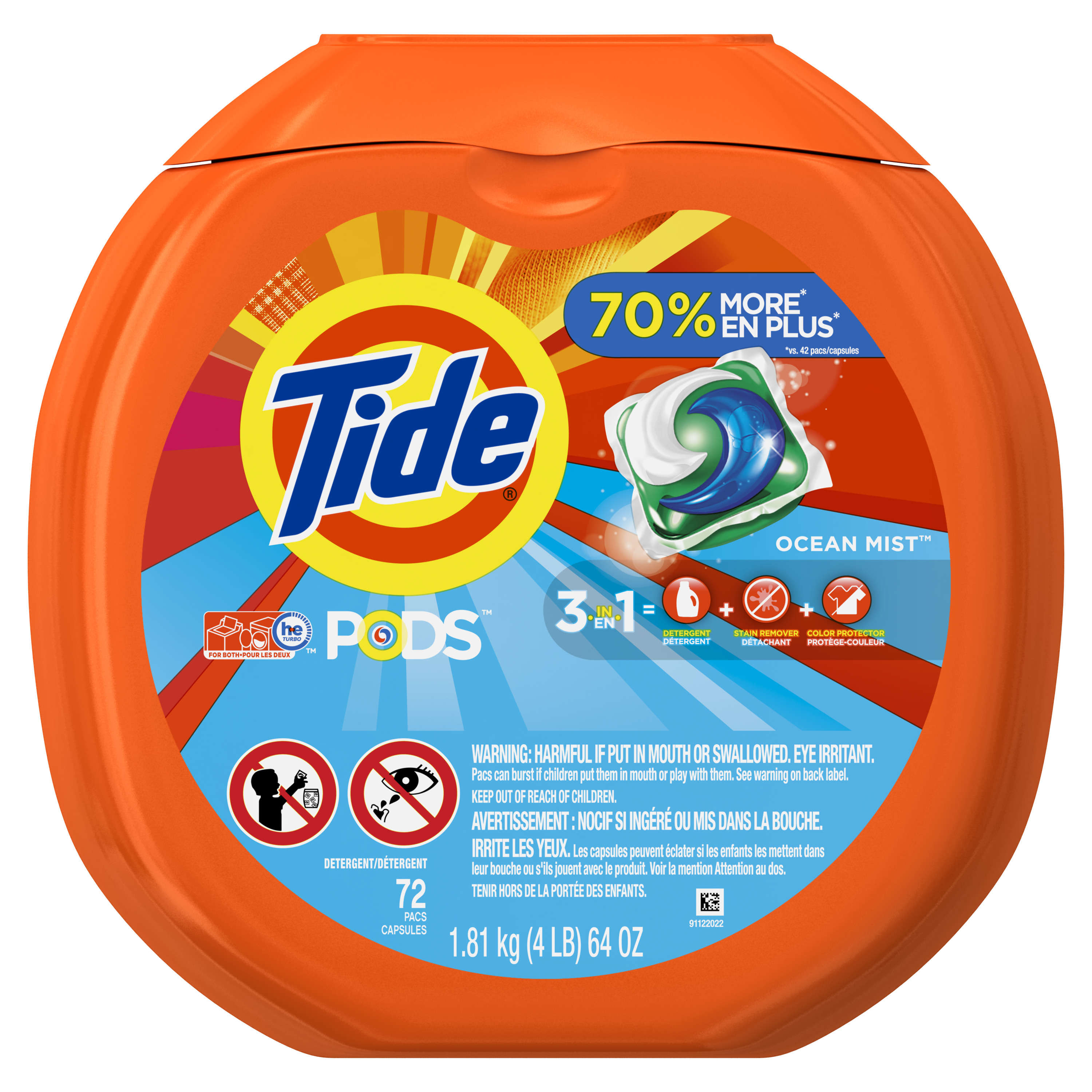 Tide PODS Liquid Laundry Detergent Pacs, Ocean Mist, 72 loads